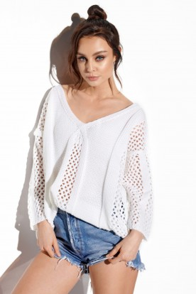 Openwork sweater with binding on the back LS281 white