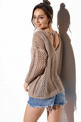 Openwork sweater with binding on the back LS281 latte