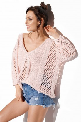 Openwork sweater with binding on the back LS281 powder pink