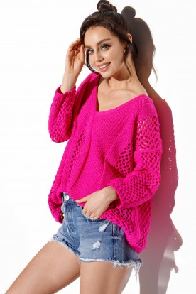 Openwork sweater with binding on the back LS281 hot pink