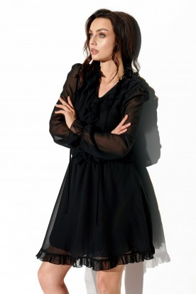 Chiffon dress with silk and ruffle in color L327 black