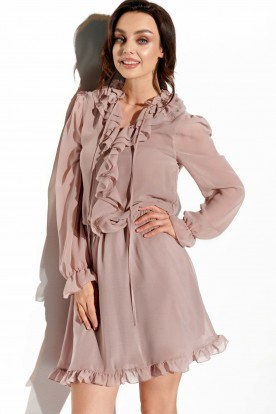 Chiffon dress with silk and ruffle in color L327 cappuccino