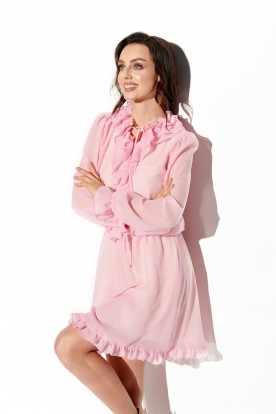 Chiffon dress with silk and ruffle in color L327 powder pink