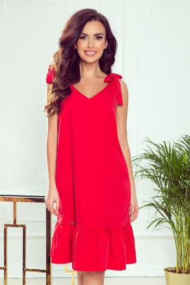 306-1 ROSITA Dress with bows on the shoulders and frill - red