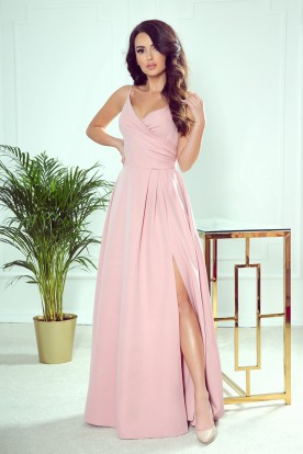 299-2 CHIARA elegant maxi dress with straps - dirty pink