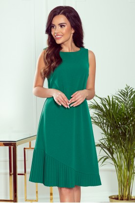 308-1 KARINE - trapezoidal dress with asymmetrical pleat - green
