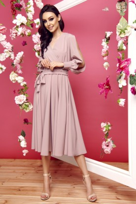 Dress with slit longsleeves L295 cappuccino