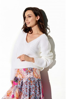 Sweater with large V-neckline LS292 white