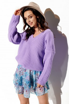 Sweater with large V-neckline LS292 lilac