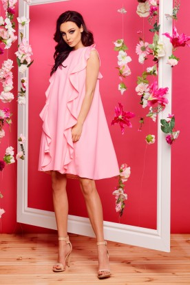 Sleeveless dress with flounces L298 powder pink