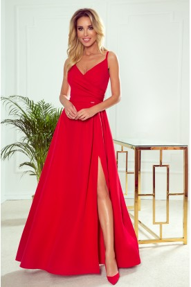 299-1 CHIARA elegant maxi dress with straps - red