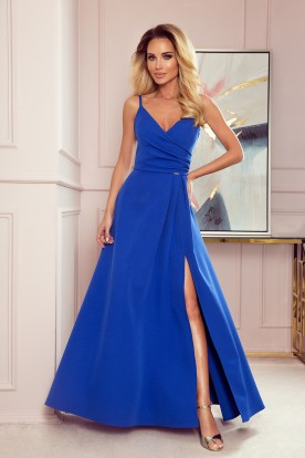 299-3 CHIARA elegant maxi dress with straps - royal blue