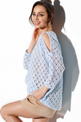 Openwork sweater with bare shoulders LS286 light blue