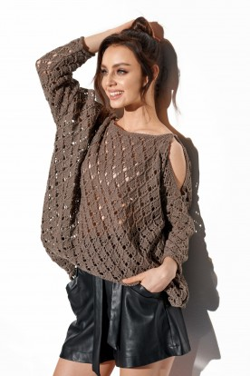Openwork sweater with bare shoulders LS286 cappuccino