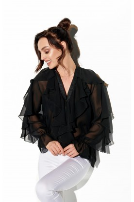 Chiffon shirt with silk and frills in color L328 black