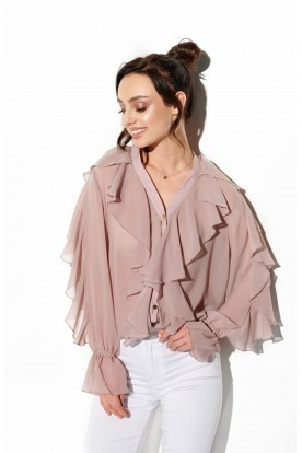 Chiffon shirt with silk and frills in color L328 cappuccino