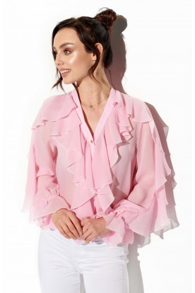 Chiffon shirt with silk and frills in color L328 powder pink