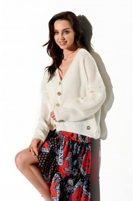 Sweater with buttons and V-neck LS290 white
