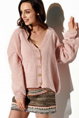 Sweater with buttons and V-neck LS290 powder pink