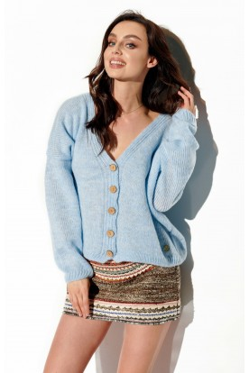 Sweater with buttons and V-neck LS290 light blue