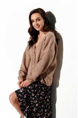 Sweater with buttons and V-neck LS290 cappuccino