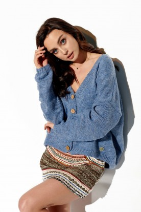 Sweater with buttons and V-neck LS290 jeans