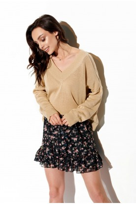 Light V-neck sweater with buttons LS293 beige