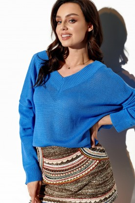 Light V-neck sweater with buttons LS293 blue
