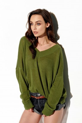 Light V-neck sweater with buttons LS293 khaki