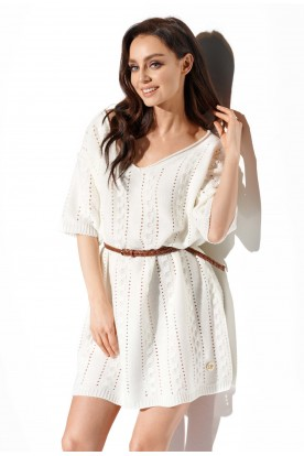 Openwork boho dress LS282 ecru
