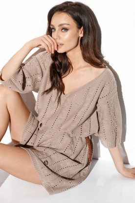 Openwork boho dress LS282 latte