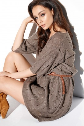 Openwork boho dress LS282 cappuccino
