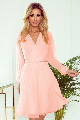 313-2 ISABELLE Pleated dress with neckline and long sleeve - peach color