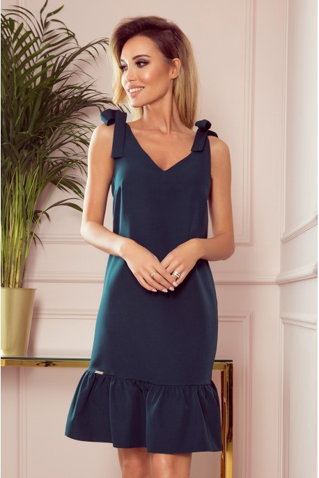 306-2 ROSITA Dress with bows on the shoulders and frill - green