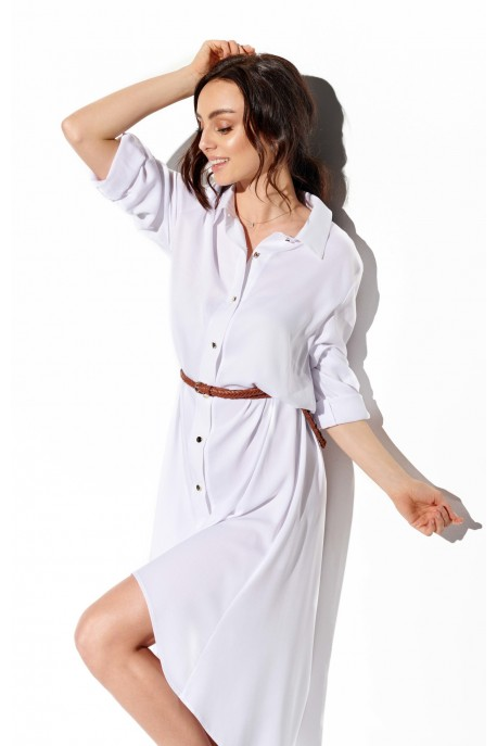 Shirt dress with shorter front L335 white