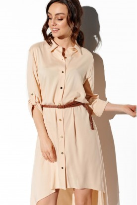Shirt dress with shorter front L335 beige
