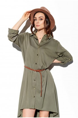 Shirt dress with shorter front L335 khaki