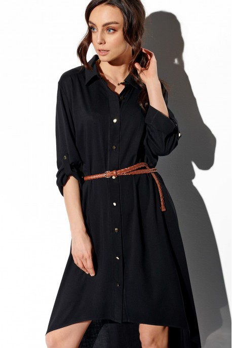 Shirt dress with shorter front L335 black
