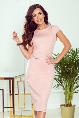 301-1 TAMARA Elegant midi dress with belt - dirty pink