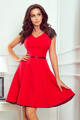 254-2 SILVIA Dress with lace inserts - red