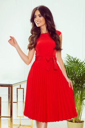 311-1 LILA Pleated dress with short sleeves - red