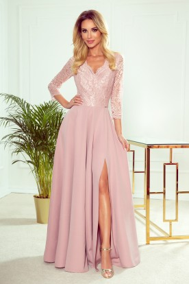 309-4 AMBER elegant lace long dress with a neckline - dirty pink