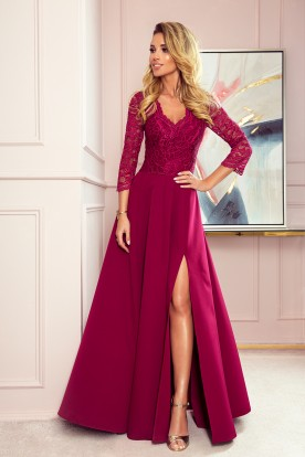 309-1 AMBER elegant lace long dress with a neckline - Burgundy color