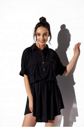 Shirt dress with buttons L338 black