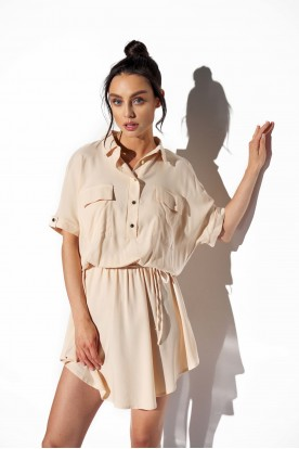 Shirt dress with buttons L338 beige