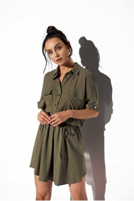 Shirt dress with buttons L338 khaki