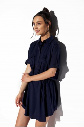 Shirt dress with buttons L338 navy