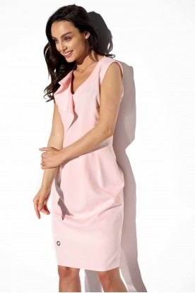 Elegant dress with frill L337 powder pink