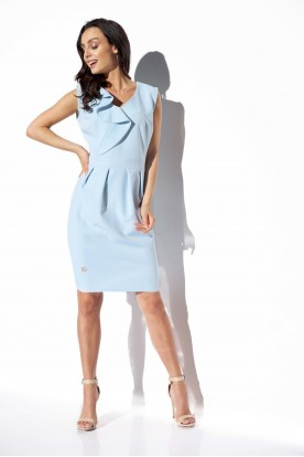 Elegant dress with frill L337 light blue