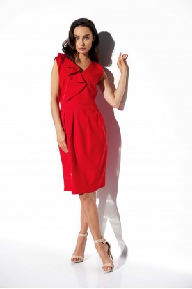 Elegant dress with frill L337 red
